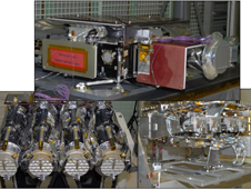 Instruments aboard the Solar Dynamics Observatory (SDO) include; (top) the Helioseismic and Magnetic Imager  (HMI), (bottom left) the Atmospheric Imaging Assembly (AIA), and (bottom right) the Extreme ultraviolet Variability Experiment (EVE).