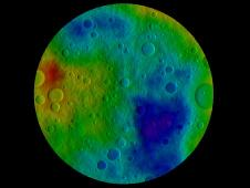Scientists' best guess to date of what the surface of the protoplanet Vesta might look like from the south pole