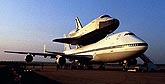 picture of Space Shuttle Enterprise on top of a Boeing 747.