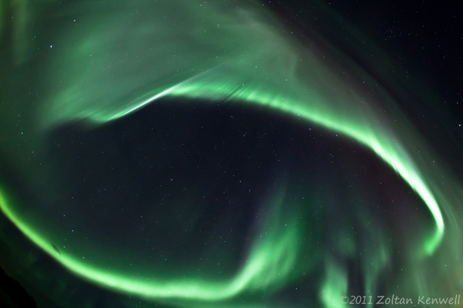 This aurora image was taken on March 10, 2011 by Zoltan Kenwell near Edmonton, Alberta, Canada.