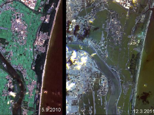 japan tsunami 2011 before and after. of the tsunami on Japan#39;s
