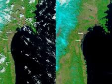 The Moderate Resolution Imaging Spectroradiometer (MODIS) on NASA's Aqua satellite took the right image on Mar. 13, 2011, while the MODIS sensor on NASA's Terra satellite took the left image on Feb 26, 2011 before the earthquake and tsunami. Both images were made with infrared and visible light to highlight the presence of water on the ground. Plant-covered land is bright green, bare earth is tan-pink, and snow is blue. The city of Sendai is brown.