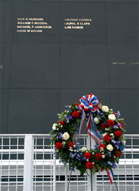 The names of the STS-107 crew members shine through the surface of the Space Mirror above the wreath.