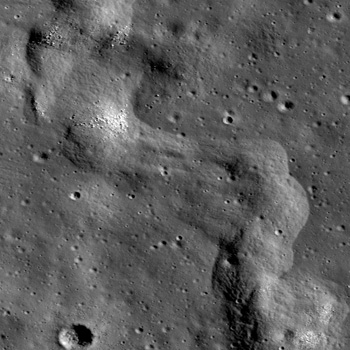 A section of a lobate scarp inside Karrer crater
