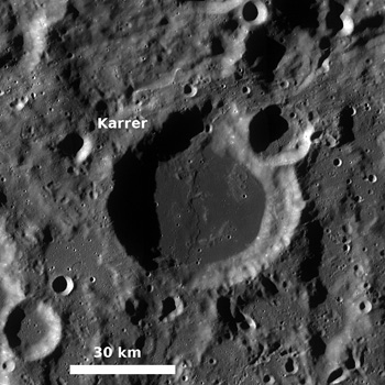 Monochrome mosaic of the mare-filled Karrer crater