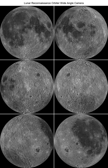 Six orthographic views of the Moon