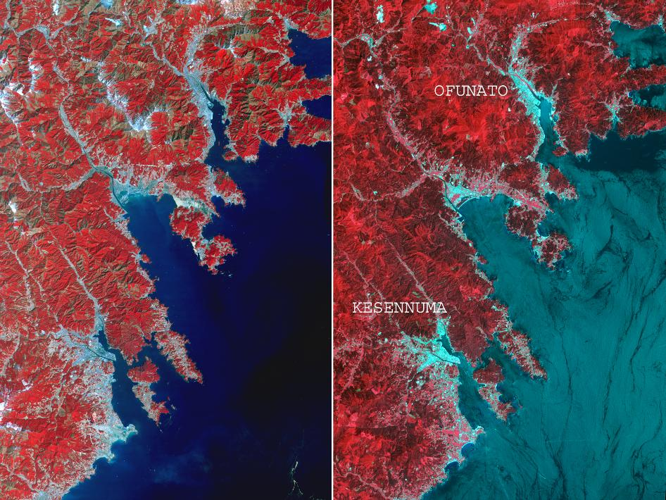 Two images of the northeastern Japan coastal cities of Ofunato and Kesennuma