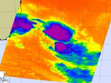 AIRS captured an infrared image of Arani's cold thunderstorm cloud tops in two areas of the storm.