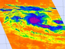 AIRS captured the cold, strong thunderstorms surrounding the center of System 98S in the Southern Indian Ocean.