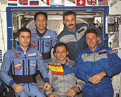 The crewmembers of Expedition 7 and 8 gather for a group portrait in the Destiny laboratory.