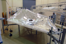 A 1:3 scale model of the sunshield