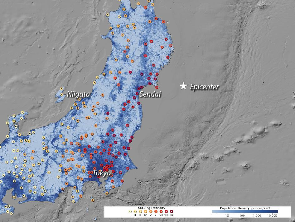 Japan earthquake intensity map