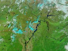 This satellite image of the Mississippi River basin swollen with spring rains was captured by NASA's MODIS on Mar. 20, 2011.