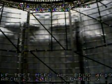 View from a test camera inside the cylinder from the March 23 Shell Buckling Knockdown Factor test at NASAs Marshall Space Flight Center.