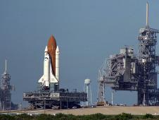 Space shuttle Endeavour on crawler