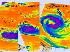 AIRS captured imagery of Bune on March 25, 26, and 27 as it churned in the South Pacific Ocean.