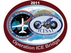 IceBridge logo includes the ICESat logo and the Airborne Sciences logo overlaid on a global map.