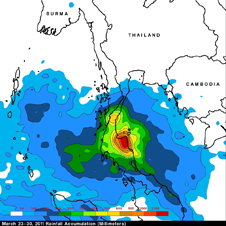 rainfall map of Thailand
