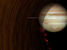 Artist's concept shows comet Shoemaker-Levy 9 heading into Jupiter