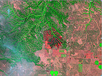 Landsat 7 Image of a Fire on Rosebud Sioux Tribal Land