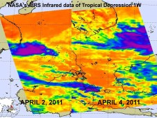 April 2 shows a more organized tropical depression, whereas the April 4 image shows wind shear tearing the circulation apart