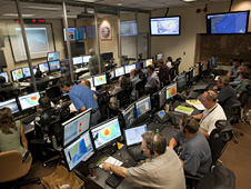 Flight crew and scientists in the Global Hawk Operations Center at NASA Dryden during the GRIP science mission.
