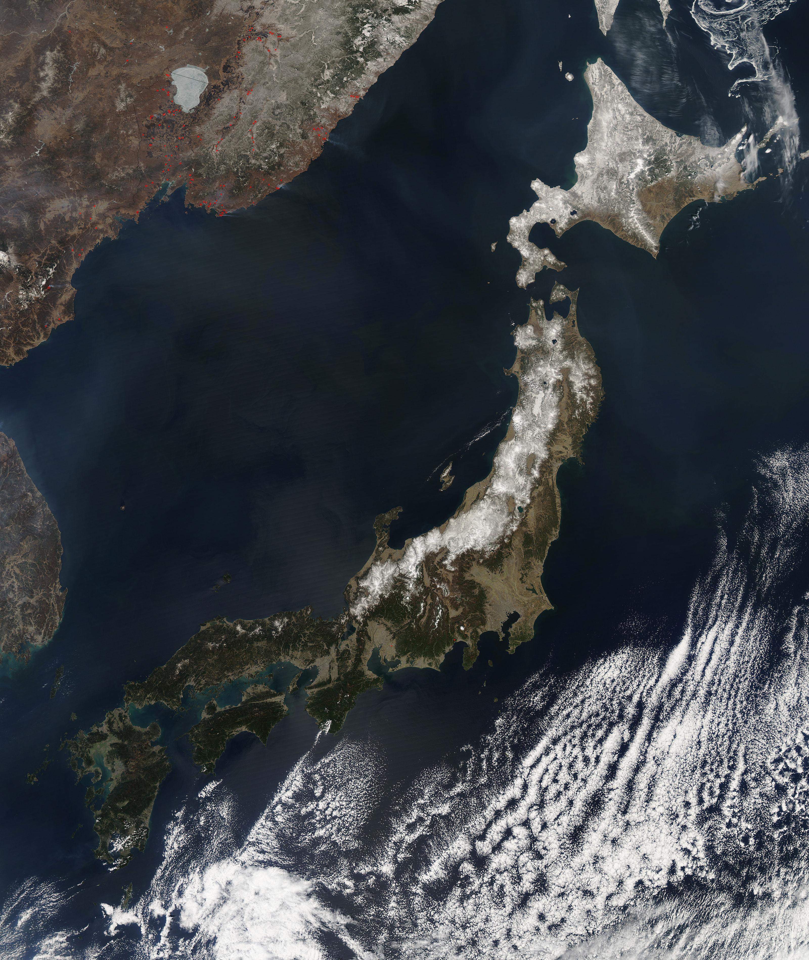NASA NASAs Aqua Satellite View Of CloudFree Japan On April - Japan map satellite