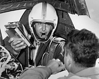 Scott Crossfield in D-558-2 cockpit after first Mach 2 flight