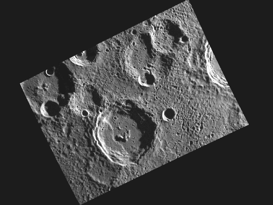 Image from Orbit of Mercury:A View of Camoes in Mercury's South Polar Region