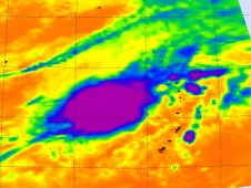 AIRS showed cold, high, strong thunderstorms around the center of circulation in TS02W with heavy rainfall.