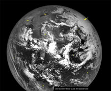 A mosaic of images of the Earth snapped on 12 June 2010 during a calibration sequence of the Lunar Reconnaissance Orbiter.