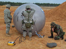 Soldiers deploy and test a GATR inflatable antenna