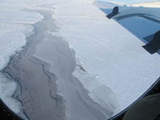 Arctic sea ice as viewed from the P-3 window.