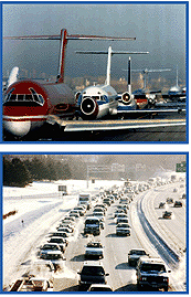 two photographs, one of cars in traffic, the other of planes lined up to take off