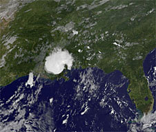 Satellite image of remnants of a hurricane