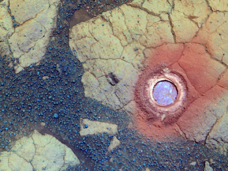 Gagarin Rock Examined by Opportunity in 2005, False Color