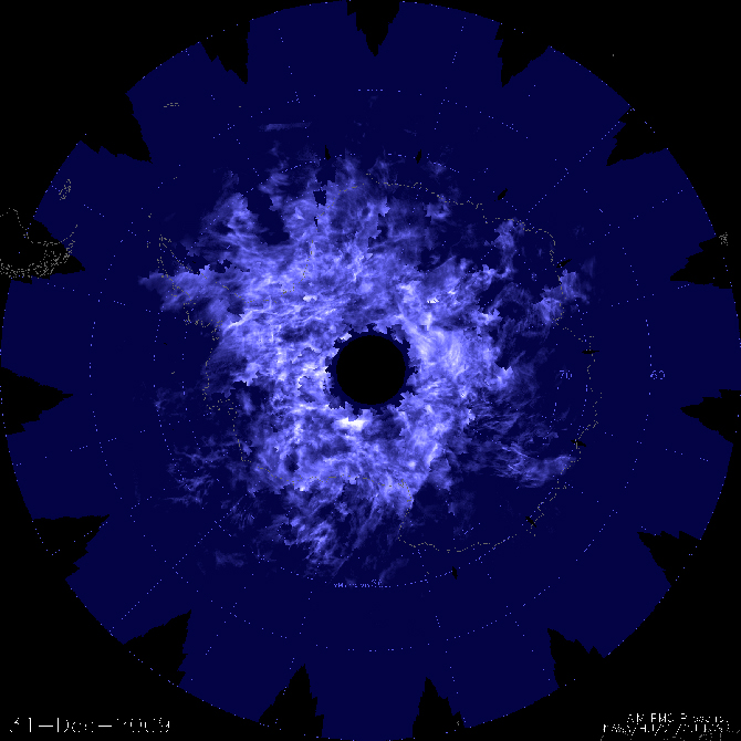 Composite image of noctilucent cloud cover above the South Pole on December 31, 2009.