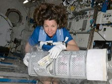 NASA astronaut Catherine, or Cady, Coleman, Expedition 26 flight engineer, services the Minus Eighty Laboratory Freezer for ISS.