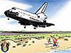 A cartoon of a boy and dog running alongside a space shuttle as it lands