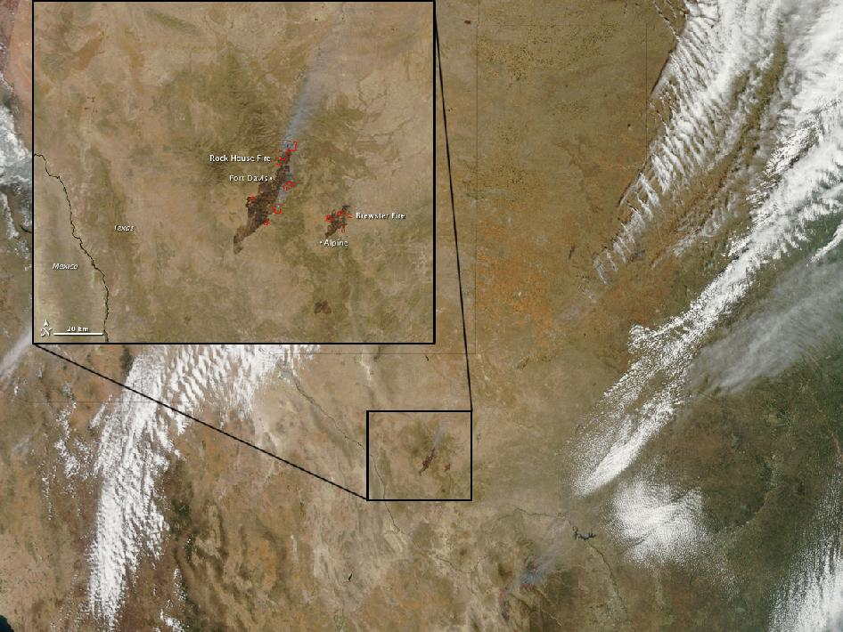 satellite image of Texas and Mexico