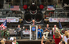 NASA Administrator Bolden announces shuttle plans.