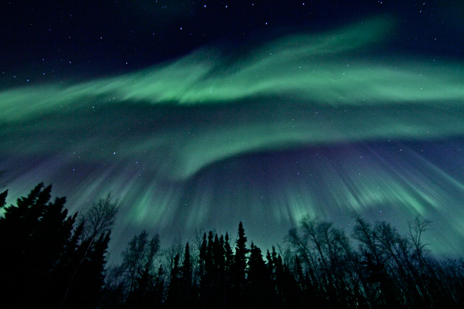 Aurora visible over Fairbanks, Alaska on April 12, 2011.