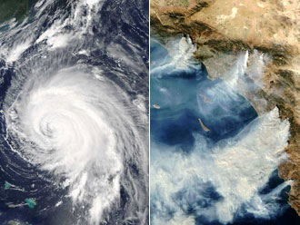 NASA satellites photographed Hurricane Isabel and the fires that ravaged Southern California