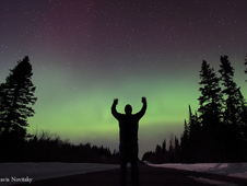 Aurora resulting from the March 7 X1.5 flare and CME as viewed from Grand Portage, Minnesota, on March 10, 2011.