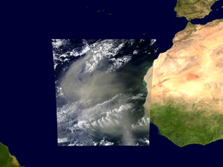 March 4, 2003 : Aqua/MODIS and Terra/MODIS both take images of the west african dust storm as it carries dust across the Atlantic Ocean