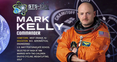 Mark Kelly, Commander. Hometown: West Orange, N.J. Education: MS, Aeronautical Eng., U.S. Navy Postgraduate School. Selected by NASA in 1996. Married with 2 children. Enjoys cycling, weightlifting, golf.