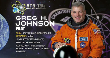 Greg H. Johnson, Pilot. Born, South Ruislip, Middlesex, UK. Education: MBA, University of Texas (Austin). Selected by NASA in 1998. Married with 3 children. Enjoys travel, biking, golf, music.