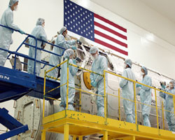 SSPF technicians in bunny suits