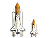 Two different-sized space shuttles