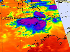 Infrared image from AIRS instrument shows areas of strong thunderstorms still exist in Errol's remnants.